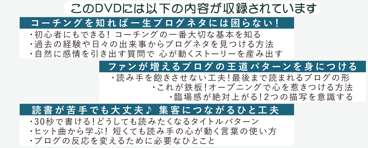 このDVDには以下の内容が収録されています